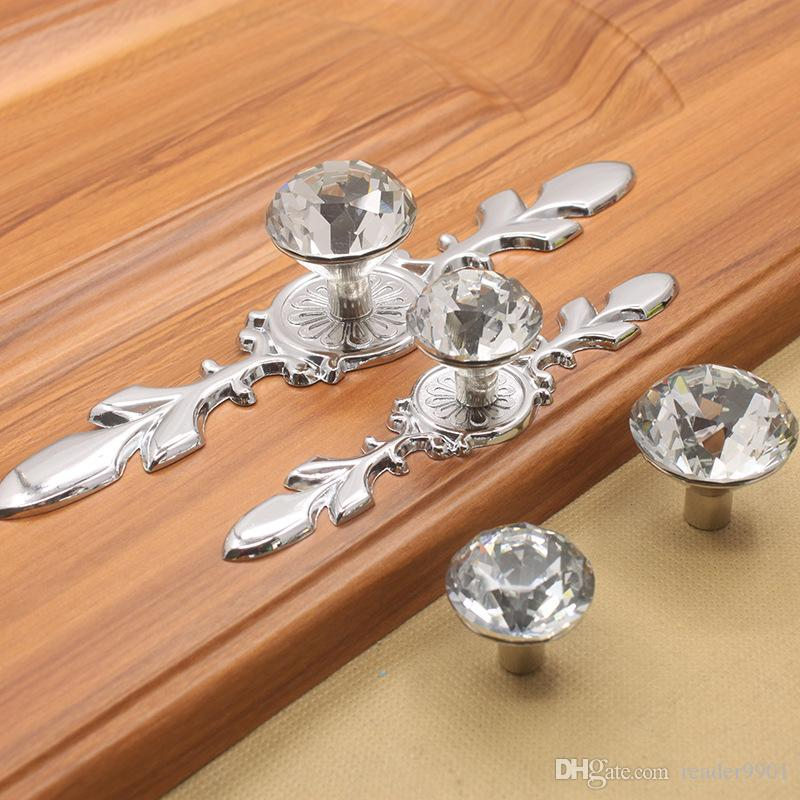 25 mm 30 mm transparente cristal claro forma de diamante sola perilla de la puerta gabinete de cocina manija del tirón del cajón con muebles de base larga de plata # 491