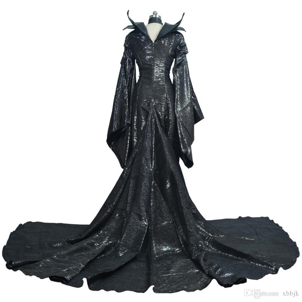 High Quality Custom Made Dark Witch Maleficent Adult Women Halloween Party Cosplay Costume Maleficent Dress Sexy Dress Custom Made 3 Person Halloween