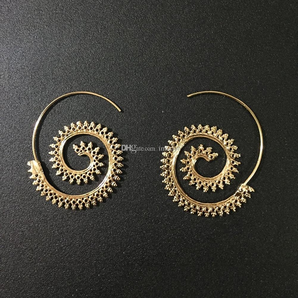 Vintage Brass Copper Tribal Indian Spiral Hoop Earrings For Women  Charming Fake Ear Piercing Jewelry Gold