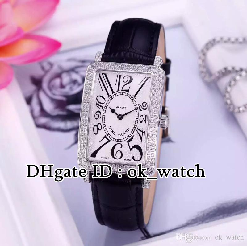 High quality new LONG ISLAND 902 QZ D Quartz womens watches Diamond bezel white dial black leather strap Ladies fashion watches 9 colors