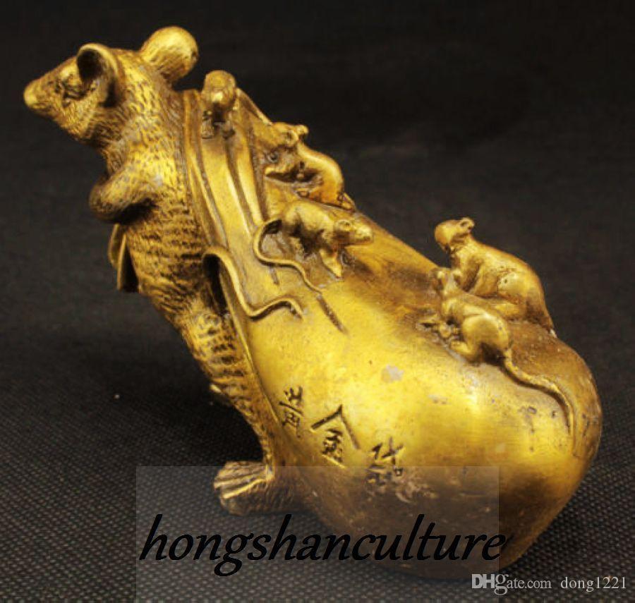 컬렉션 중국어 골드 가방 부 쥐 금관 악기 동상