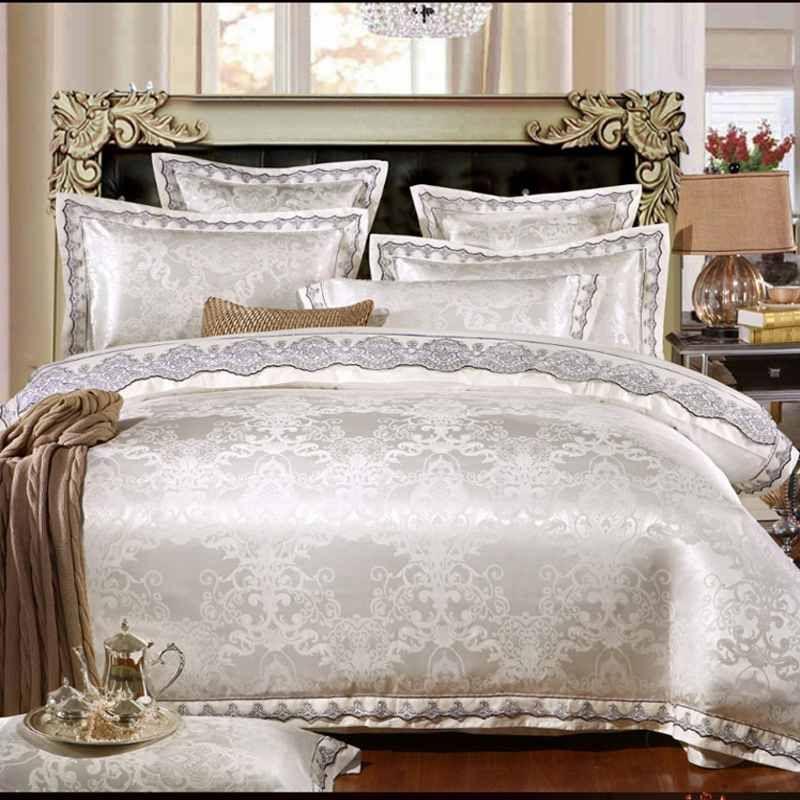 4pieces الأبيض الجاكار الحرير القطن الفاخرة الفراش مجموعة الملك الحجم الملكة سرير مجموعة الدانتيل حاف غطاء السرير ورقة المخدة الأميرة أغطية السرير