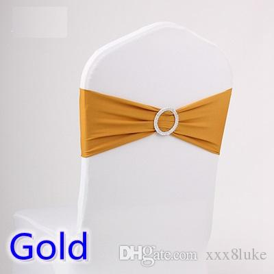 Gold colour wedding chair sash spandex band with diamond buckle for chair covers lycra bow tie spandex sash ribbon on sale