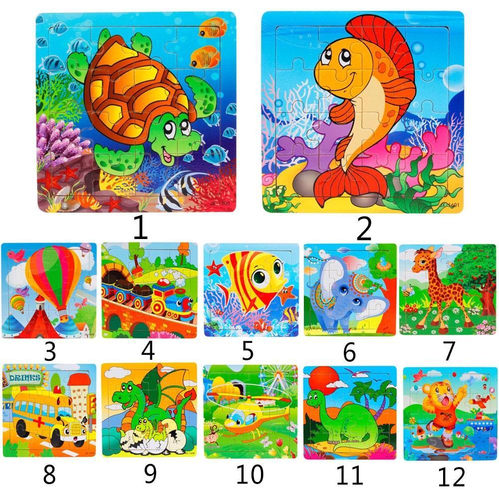 Incrível 1PC Tortoise Wooden Kids 16 Piece Crianças Jigsaw Educação E Aprendizagem Puzzles Brinquedos (Tamanho: 14.7cmx14.7cm)