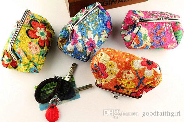 5pcs New Fashion Vintage embroidery flower coin purse canvas key holder wallet hasp small gifts bag clutch handbag Christmas gift