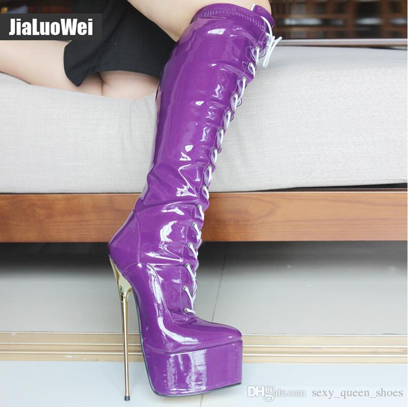 2019 YENI Dantel-Up Diz Yüksek Platformu Boot Kadınlar Seksi Fetiş Dans Ayakkabıları Motosiklet Botları 22 CM Ultra Yüksek Topuklu Altın Metal Topuk PU Deri