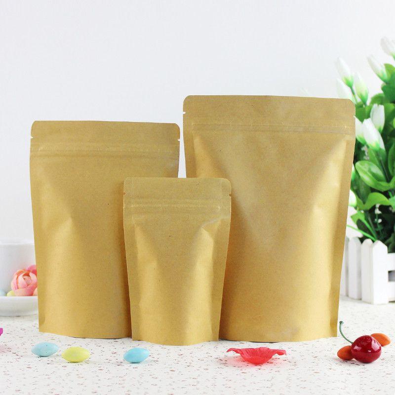 100Pcs / Lot Stand Up Kraft Paper Zipper-Verschluss-Beutel Selbstdichtungs-Aluminiumfolie Mylar Doypack Zipper-Beutel Beutel Lebensmittel Snack Lagerung Wiederverwendbare Taschen
