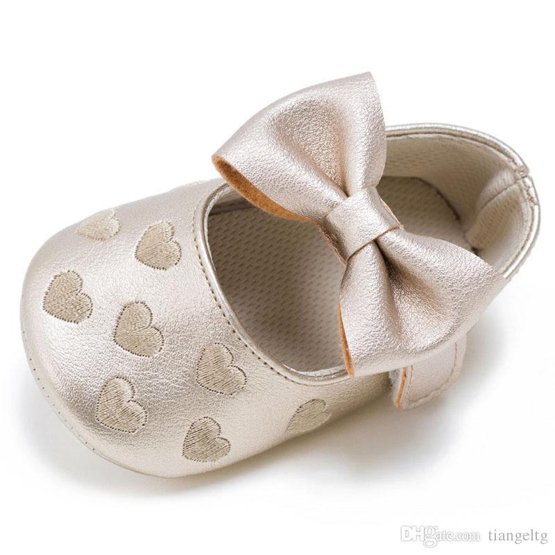 소년 소녀 소프트 미끄럼 방지 밑창 LG83 베이비 모카신 멀티 컬러 유아 Prewalker 하트 Bowknot PU 가죽 아동 신발