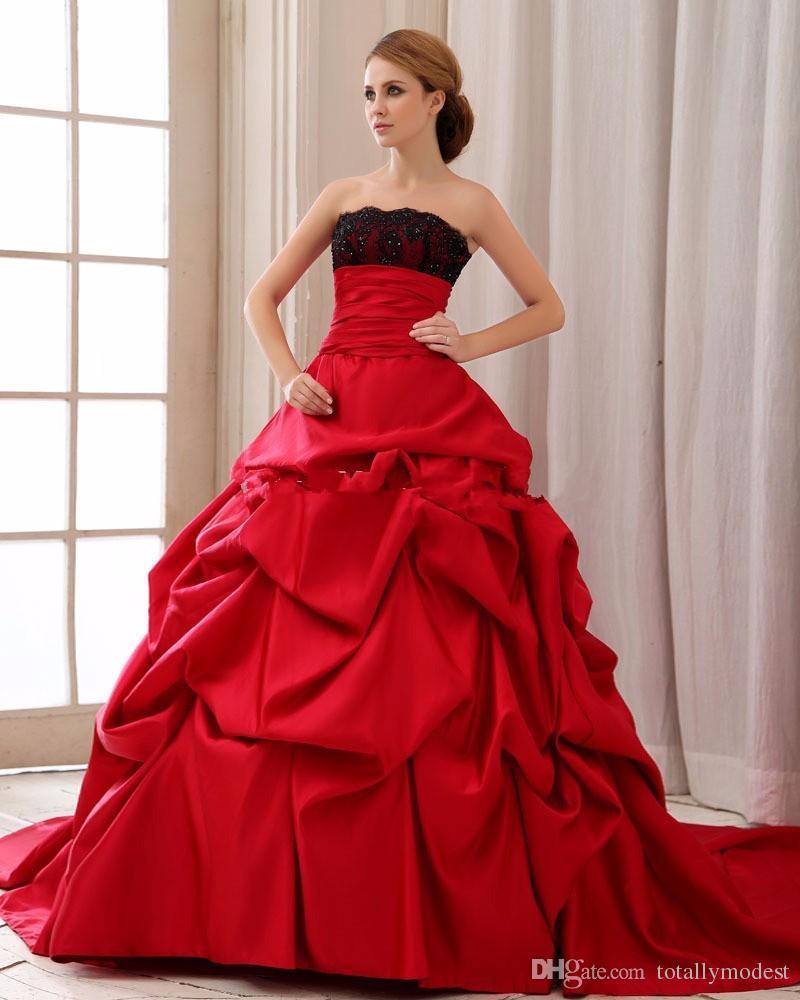 Vintage Gothic Black and Red Satin Ball Gown Abiti da sposa Vestido De Noiva Pick-up senza spalline Abiti da sposa senza spalline COUTURE Personalizzato