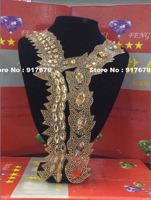 10pcs/lot Fashion Rhinestone Transfer Iron On Hotfix Crystal Applique, Bling Rhinestone Motif Patch Collar Applique