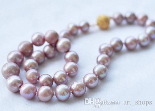 Rare 8-9MM Véritable collier de perles de culture akoya lavande 14K GP Magnet Clasp