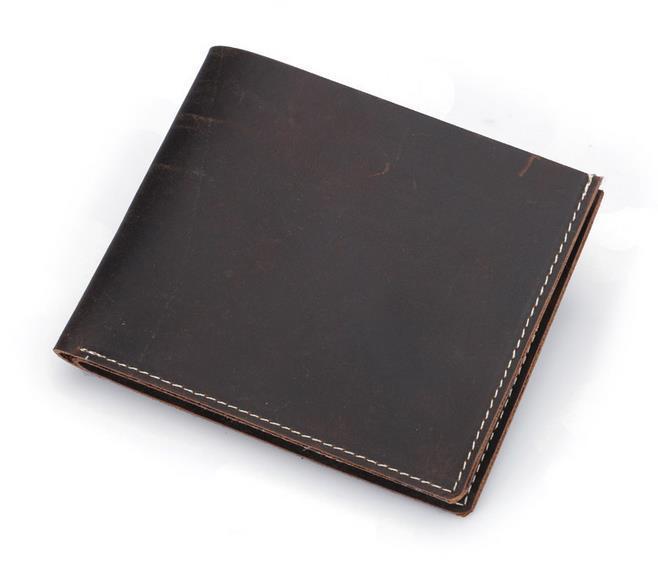 Bolsa Pequena Carteira Marca Cavalo Qualidade Vintage Designer Genuine Genuine Crazy High Cowhide Curto Homens Vintage 100% Wallet Rakrt