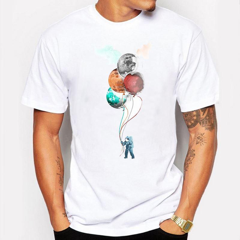 Herrenbekleidung Sommer Kurzarm Die Raumfahrer Reise Bälle Herren T-Shirt gedruckt t-shirts lustige O-Neck T-Shirt homme de marque
