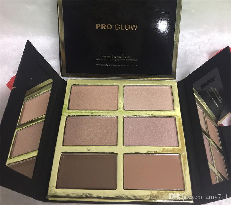 New Hot Makeup Pro Glow Highlight Palette di contorno 6 Colore Kit in polvere DHL spedizione + regalo