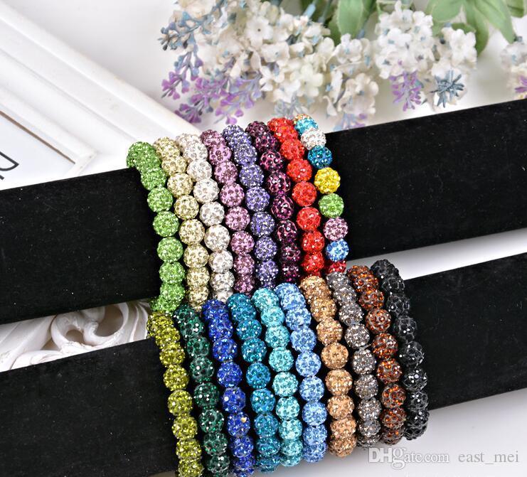 Good A++ Fashion 20 crystal diamond ball bracelet beads diy handmade jewelry FB292 mix order 20 pieces a lot Charm Bracelets