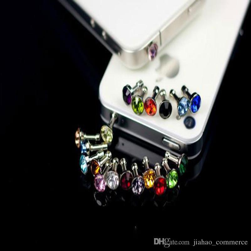 1000pcs / lot 럭셔리 전화 액세서리 스마트 전화, 휴대 전화, 안 드 로이드 전화에 대 한 작은 다이아몬드 라인 석 3.5mm 먼지 플러그 이어폰 플러그