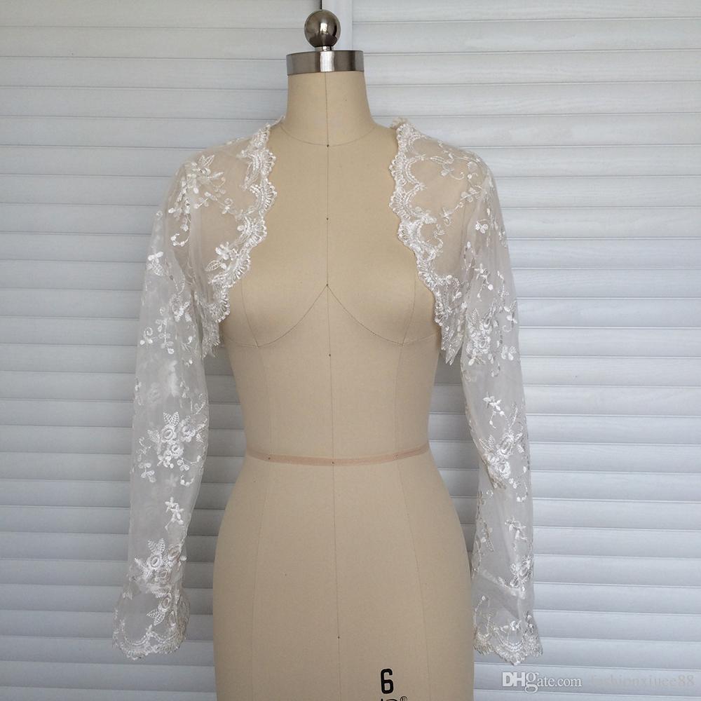 Элегантный болван 3/4 рукава болеро свадебные аксессуары куртка свадебные обертывания простой плюс размер свадебное плечо женская кружевная шаль