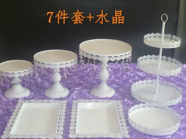 7pcs / set plateau en métal blanc Desserts plaque Cupcake de couleur et plateau de gâteau de gâteau