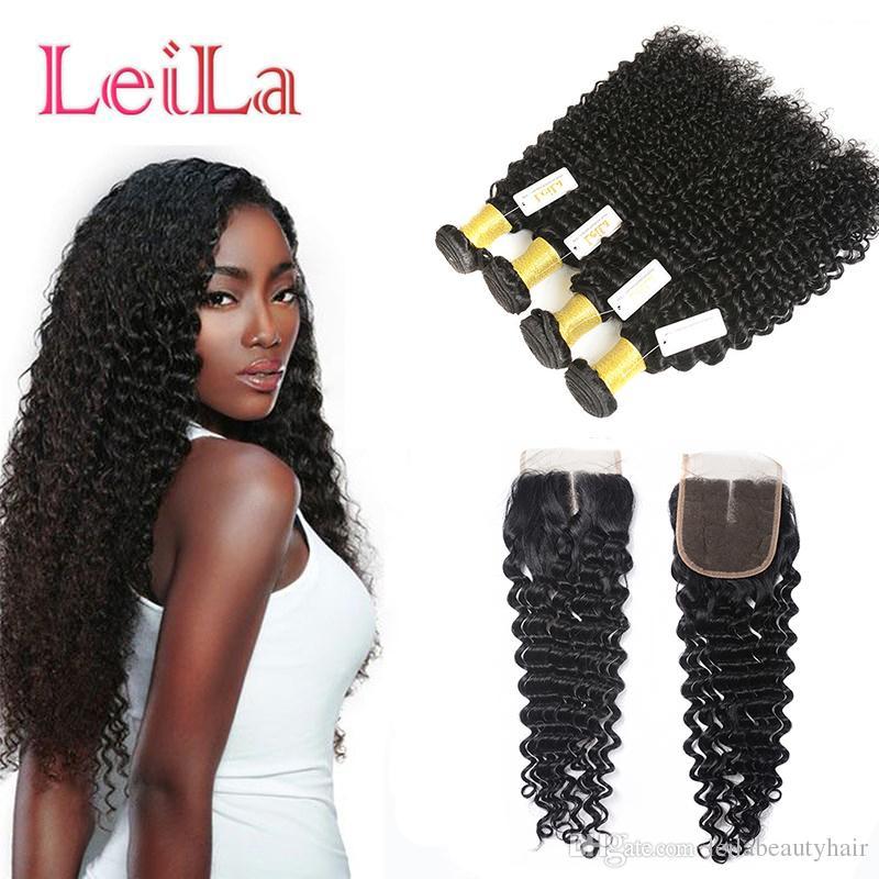 5pieces Virgin dei capelli onda profonda / lotto Bundles con chiusura del merletto peruviano 100% non trattati dei capelli umani di trama ricci capelli completa