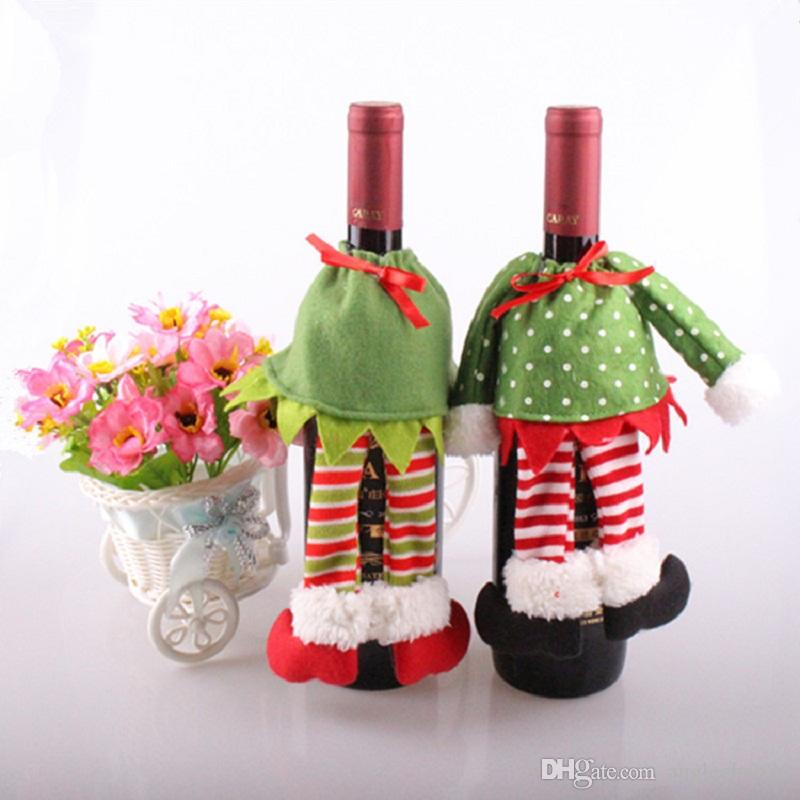 Creative Polka Dot /Stripe Wine Bottle Cover Bags For Christmas Xmas Home Decorations Tree Ornaments Free Shipping