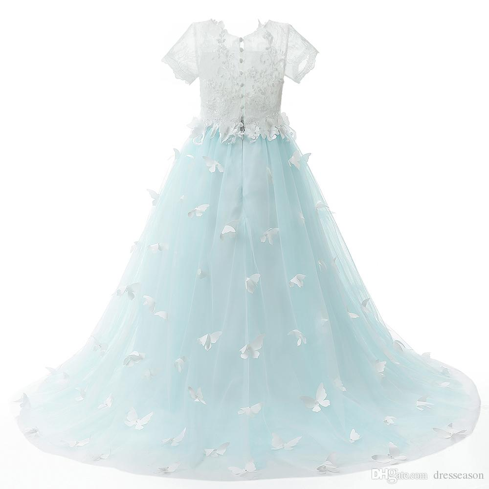 short sleeve long girls dress with butterfly tulle flower beauty ...