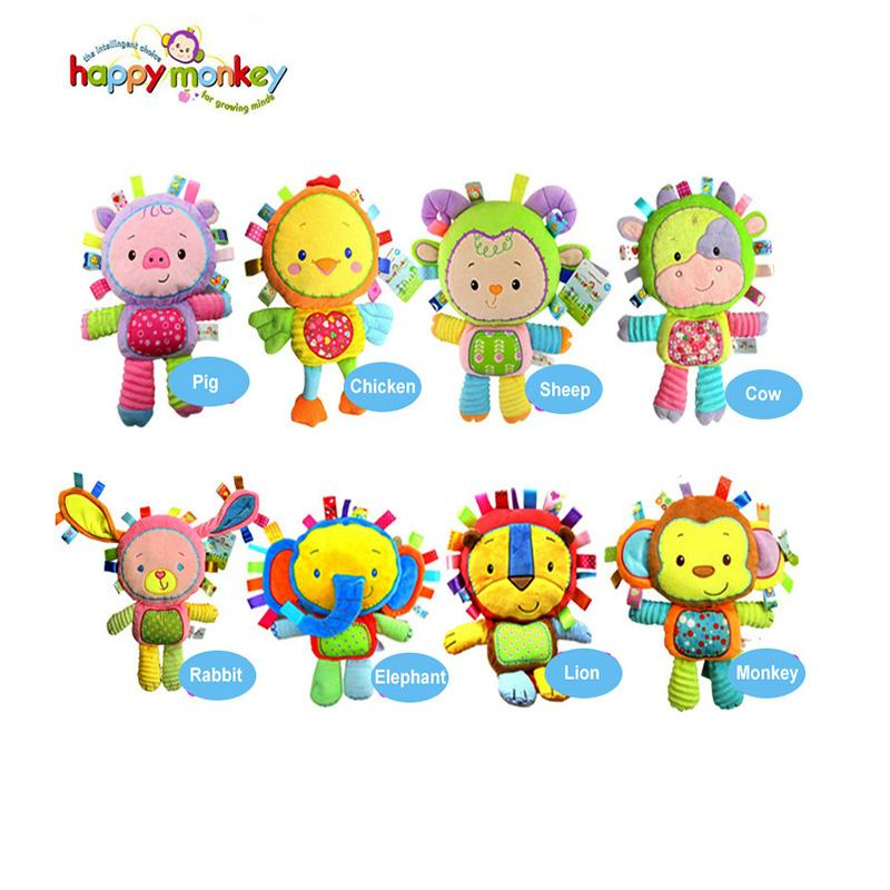 Toptan-Mutlu Maymun 8 Stilleri Bibi Ile Bebek Neşeli Sallanan Ses Yumuşak Nazik Çıngırak Peluş Oyuncak Sevimli Hayvanlar 0 M + Bebekler