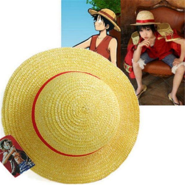 Cosplay cappello di puntelli di cartone animato giapponese Luffy strawhat cappello monopezzo per bambini / adulto Cappello di paglia Visor Cappelli ampi a tesa larga