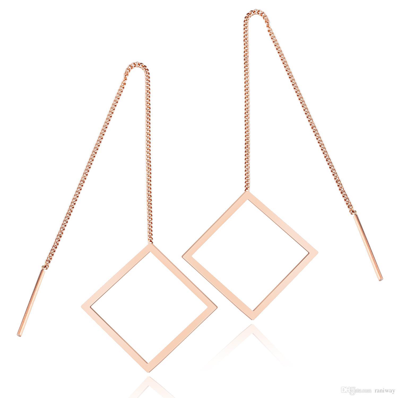 Elegante catena in oro rosa placcato in oro rosè con catena a maglie lunghe, ciondola gli orecchini di moda per le donne