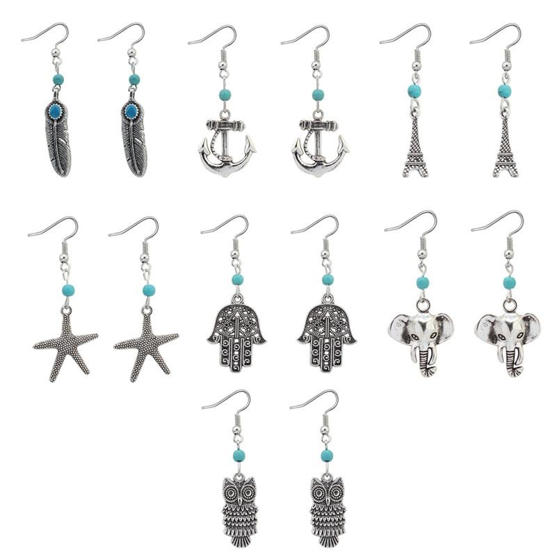 Earrings Chandeliers Jewelry Antique Silver Plated Alloy Feather Anchor Elephant Owl Drop Earrings Vintage Wholesale Free Shipping ER683