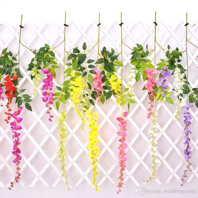 110cm Wisteria Wedding Decor 6 colors Artificial Decorative Flowers Garlands for Party Wedding House with Free Shipping