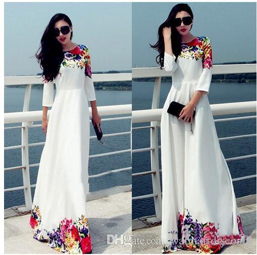 2017 Mulheres Partido vestidos longos Branco Floral Imprimir Maxi Boho Beach Dress Plus Size Robe Casual Vestido Longo Ropa Mujer