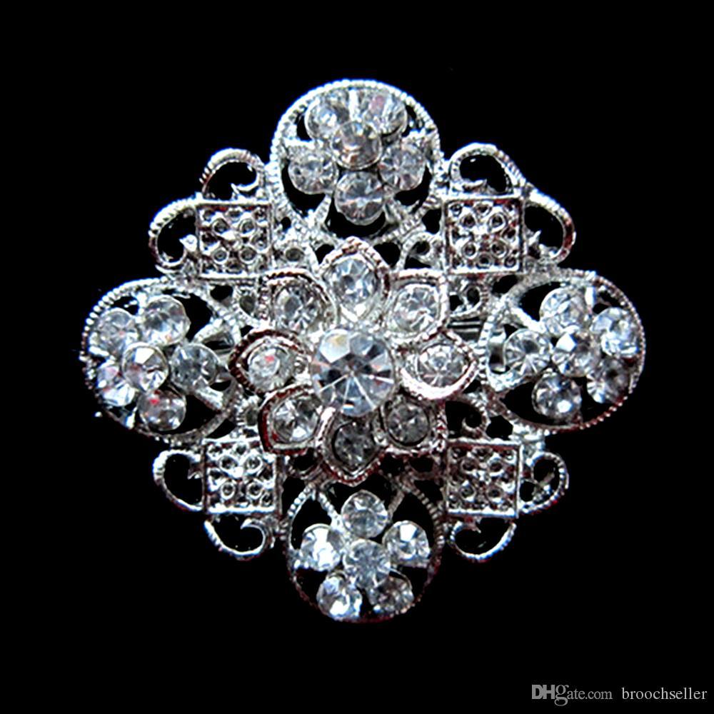 Silber vergoldet Legierung und Strass Kristall Metall Pin Blume Brosche
