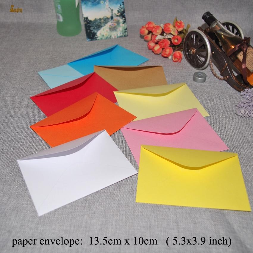 Gift Bag Packaging 100pcs/lot 13.5x10cm Plain Kraft Paper Envelope of Business Card Small Party Invitation Colorfull Mailer 120gsm Style