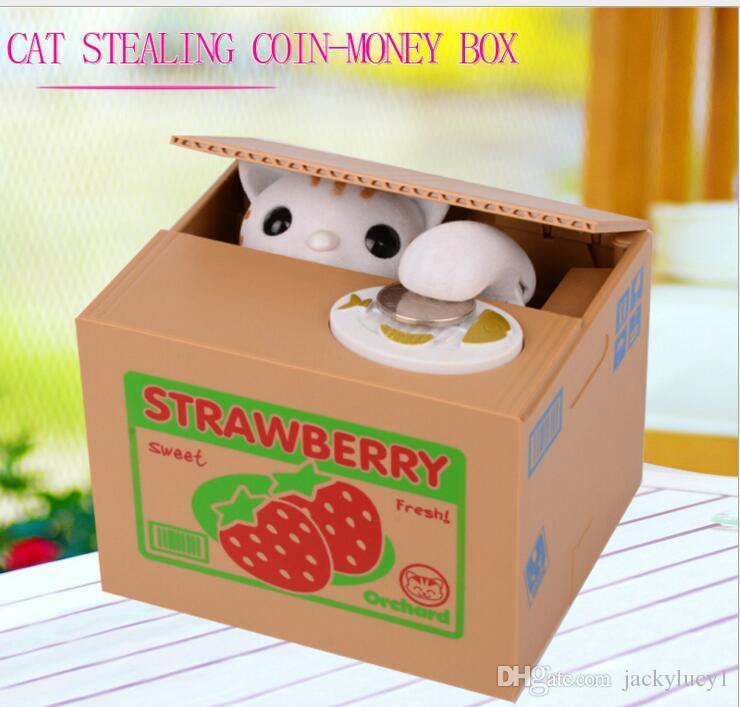 Cheap Itazura Cute Kitty Cat Stealing Coins Japanese Piggy Bank Saving Bank Saving Pot Money Box Free Shipping