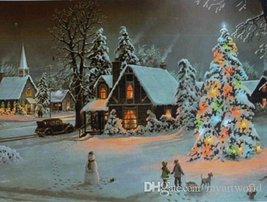 Christmas Lights Winter House children sled snowman,Pure Handpainted Art Oil Painting On Canvas.customized size accepted,clear