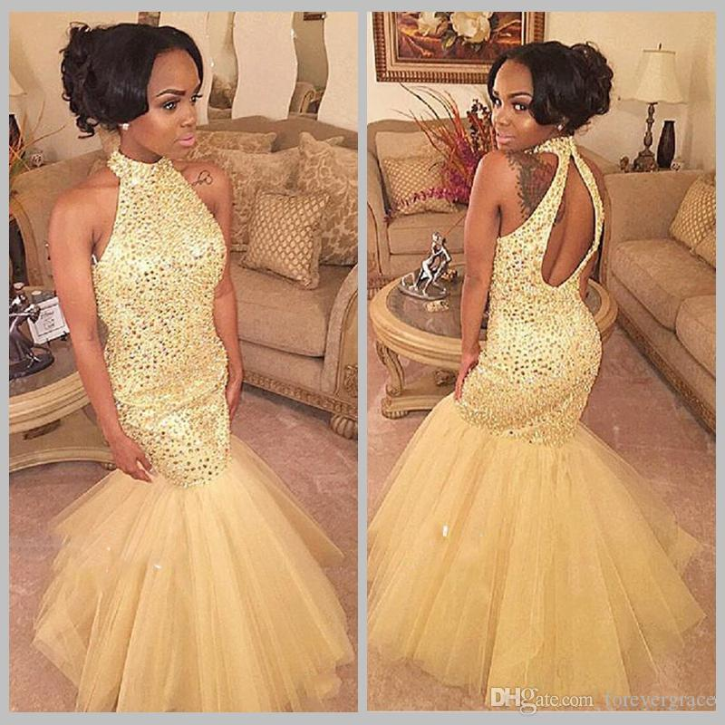 Cheap Sexy Gold Mermaid Prom Dress Halter Neck Backless Black Girl Formal Sweep Train Evening Party Gown Custom Made Plus Size