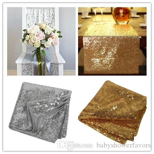 1pcs 30cm*275cm Silver/Gold Color Sequin Fabric Table Runners Sparkly Bling Table Runner Wedding Party Decorations Supply Accessories