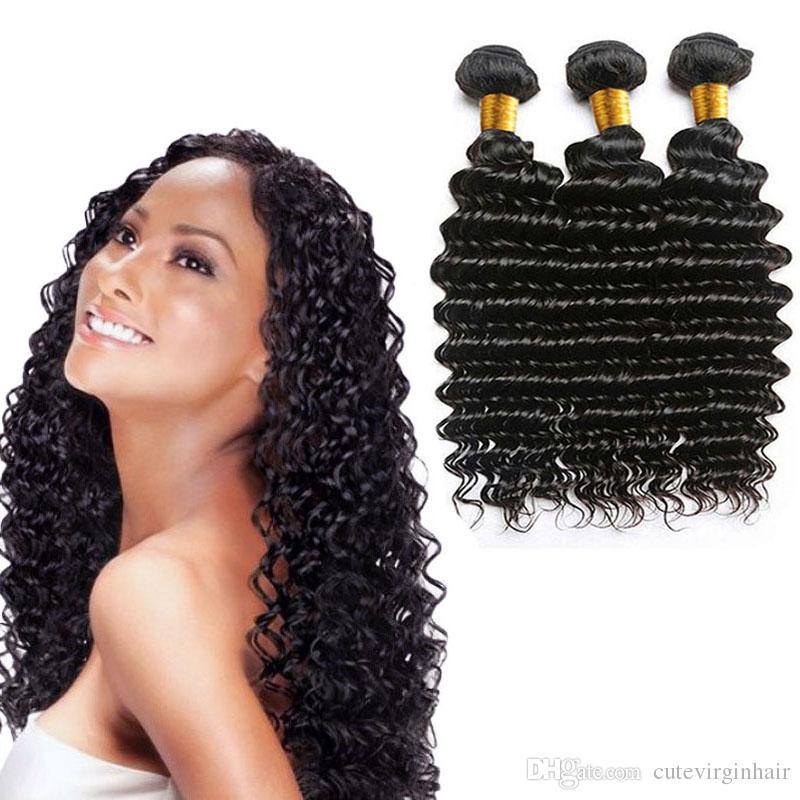 페루 딥 웨이브 3 번들 처리되지 않은 인간의 머리카락 확장 페루 버진 인간의 머리카락 번들 자연 색상 수 염료