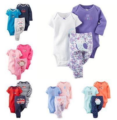 Atacado-transporte da gota de roupas de bebê meninos meninas define roupas infantis (Bodysuits + calça) 3pcs ou 2pcs crianças roupas CY-037