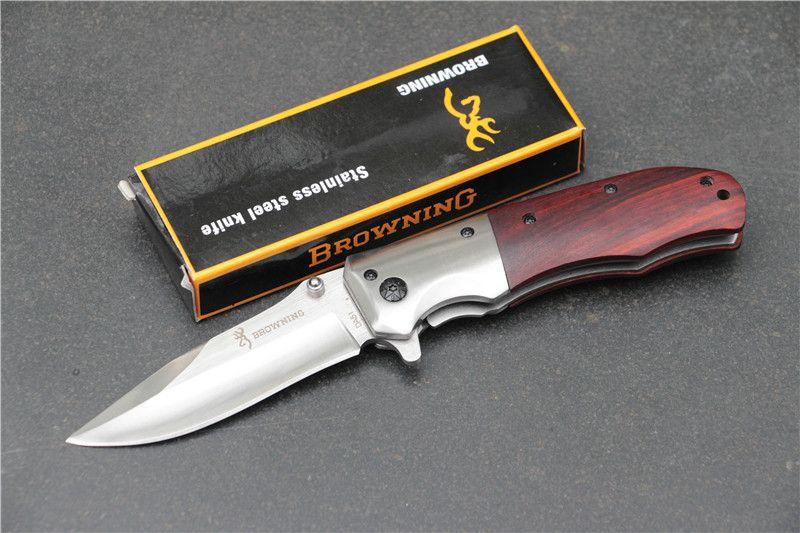 Browning DA51 Katlanır Avcılık Bıçak 440C Blade Survival Cep Bıçaklar Redwood Kolu Ile hızlı açık Kamp Çok Araçları Yüksek kalite