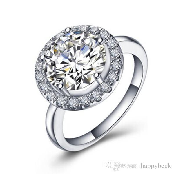 Qualità eccellente Solid Sterling Silver 3CT Brilliant Diamond Diamond Diamond Ring Anello in oro rosa Brilliant Forever Jewelry