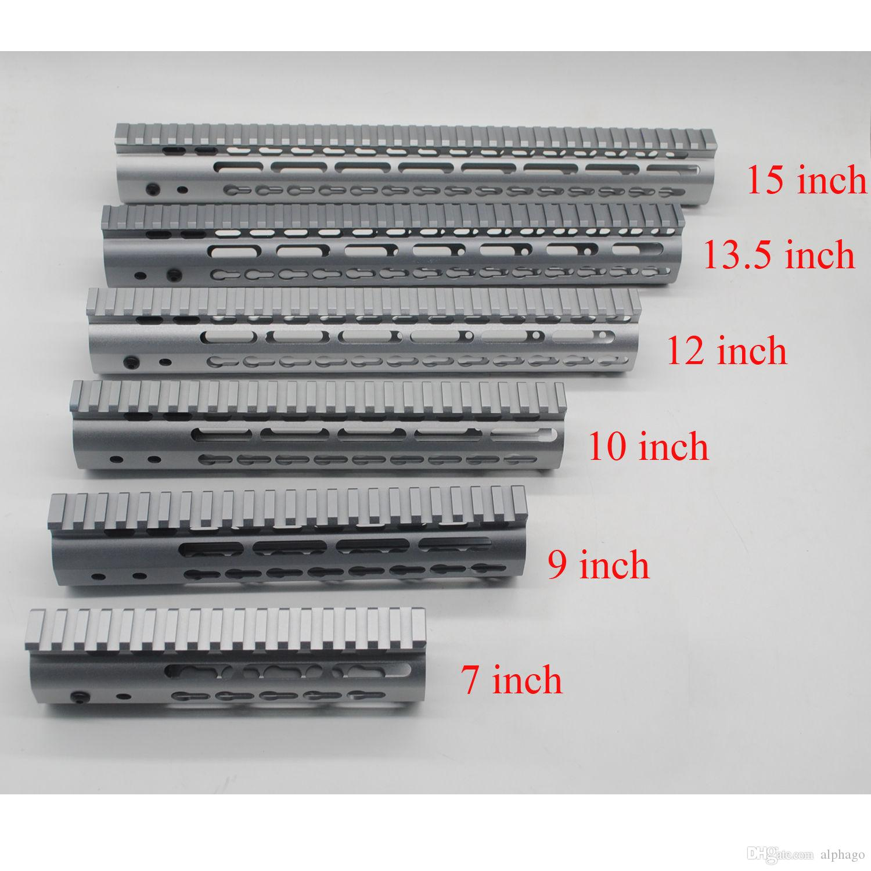 """알루미늄 7 / 9 / 10 / 12 / 13.5 / 15 """"인치 회색 알루마이트 케 모드 핸드 가드 프리 플로트 레일 마운트 .223 / 5.56 시스템"""