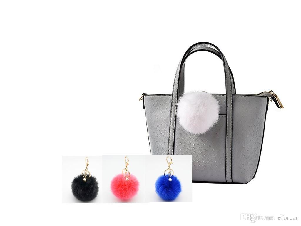 퍼프 볼 Pom Pom Keychain 모피 볼 봉제 열쇠 고리 털이 액세서리 Car Bag Charm 무료 배송