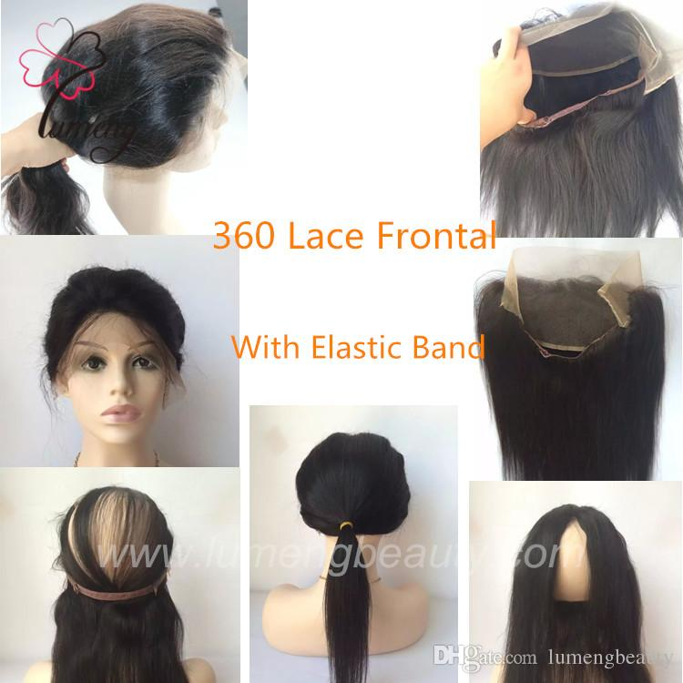 Promotion Full Lace Wigs New Elastic Band 360 Lace Frontal Band 22 4 0 5 360 Circular Closure Natural Straight Black Color Laces Wigs Brazilian Glueless Full Lace
