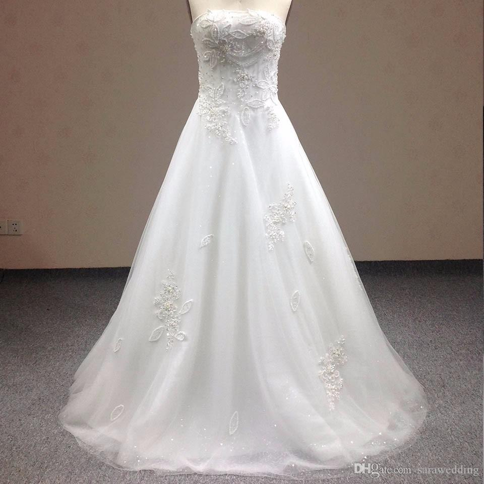 New fashion Real Sample Strapless Sequined Wedding Dress Lace&Tulle Graceful Slim De Novia 2018 WD0154