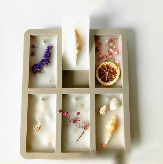 DIY velas de soja aroma comprimidos de cera molde de silicone feitos à Mão flores secas aroma cera comprimidos 6 furos de silicone molde moldes de sabão