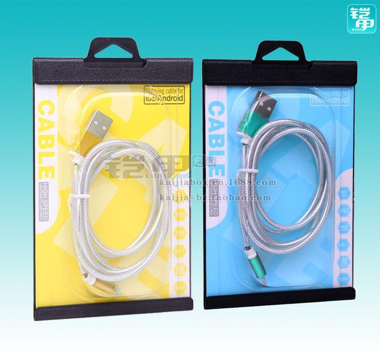 Toptan Evrensel Temizle Şeffaf PVC Plastik Perakende USB Paketi Ambalaj Kutusu için Şarj Data Hattı 90 * 138mm