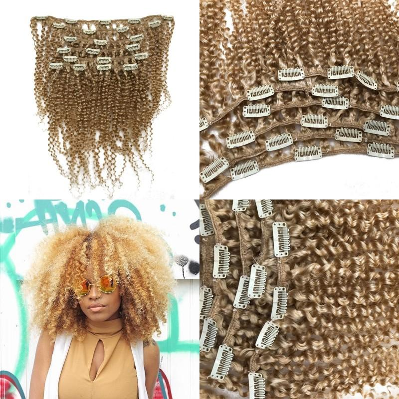 Clip In European Blonde #613 Afro Kinky Curly Remy Hair 100% Human Hair Extensions 7Pcs/Set 120G FDSHINE