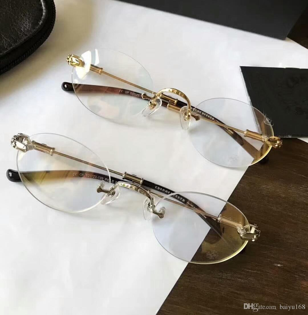 Les hommes d'or ovale lunettes monture de lunettes sans monture de lunettes montures de lunettes lunettes de forme ronde Nouveau dans la boîte