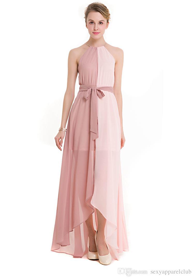 Women Dresses Summer 2017 Polyester ContrastColor Halter Elegant Casual Chinffon Dress Sleeveless with Sleeveless Plus Size Summer dress